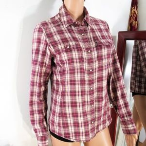 North Face Purple/Pink Plaid Snap Up Shirt